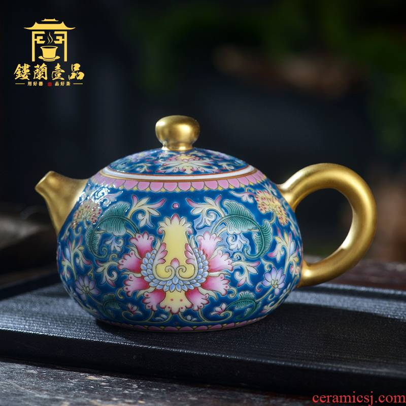 Jingdezhen ceramic all hand - made colored enamel pot of xi shi ewer teapot kung fu tea set large capacity single pot, kettle