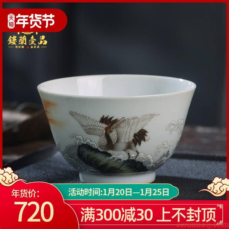 Hand - made pastel fukuyama ShouHaiYun crane lines master cup of jingdezhen ceramics kung fu tea tea cup large single CPU