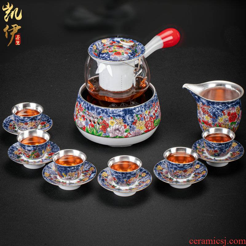 Flower is side the tea steamer coppering. As silver kung fu tea set of jingdezhen ceramic tea cup, office home