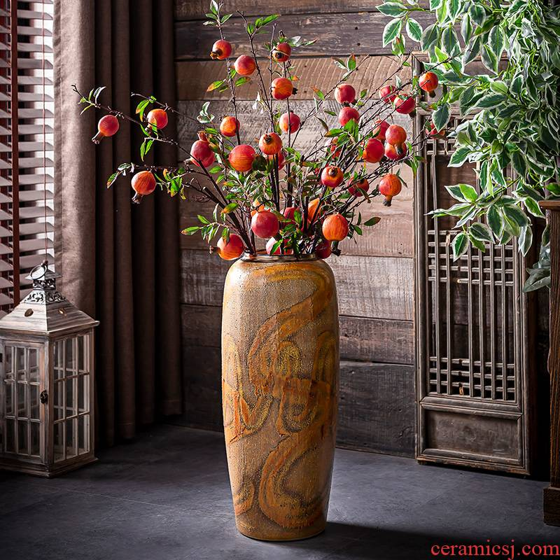 Restore ancient ways do old vase Chinese plug-in landing dried flowers sitting room hotel decoration jingdezhen ceramic thick some ceramic pot furnishing articles