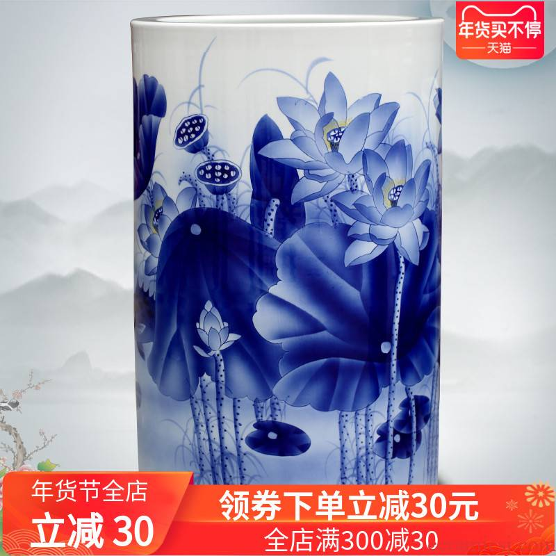 Hand made lotus fish landing furnishing articles of jingdezhen ceramic vase of blue and white porcelain home sitting room decorations study process