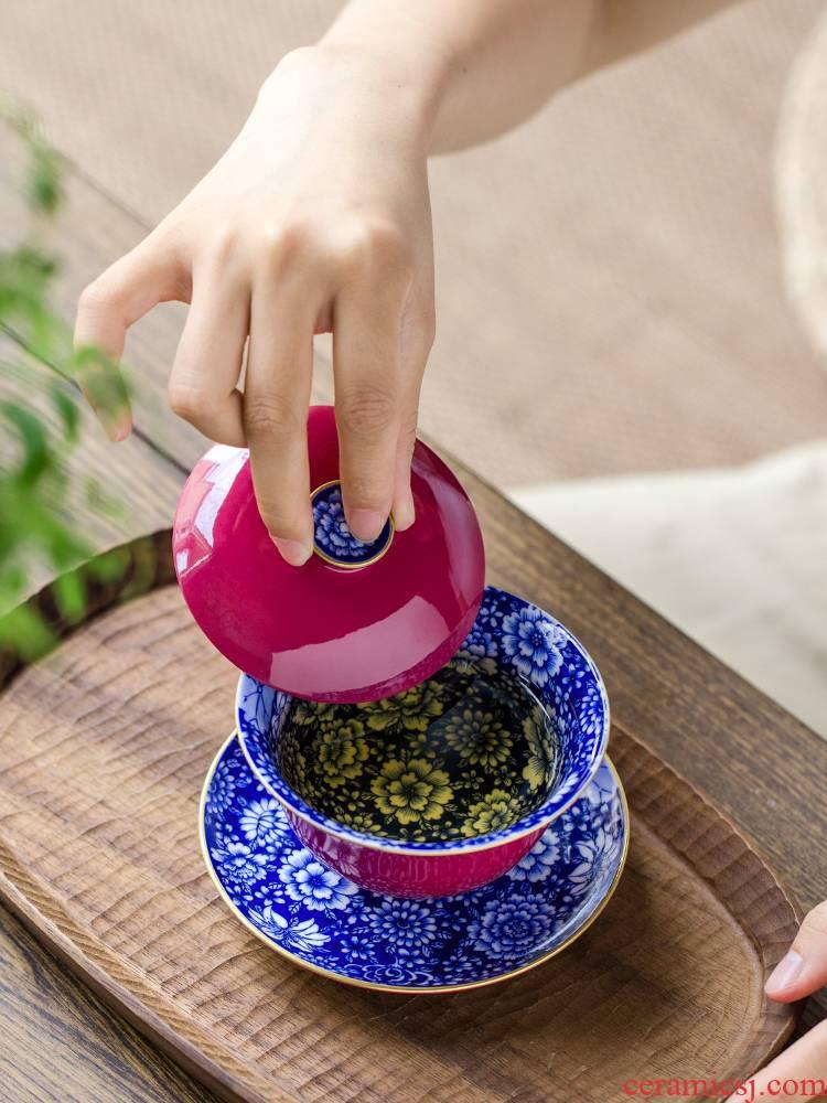 Carmine tureen of jingdezhen blue and white porcelain ceramics hand - made than spend three to kung fu tea tea tea cup bowl bowl