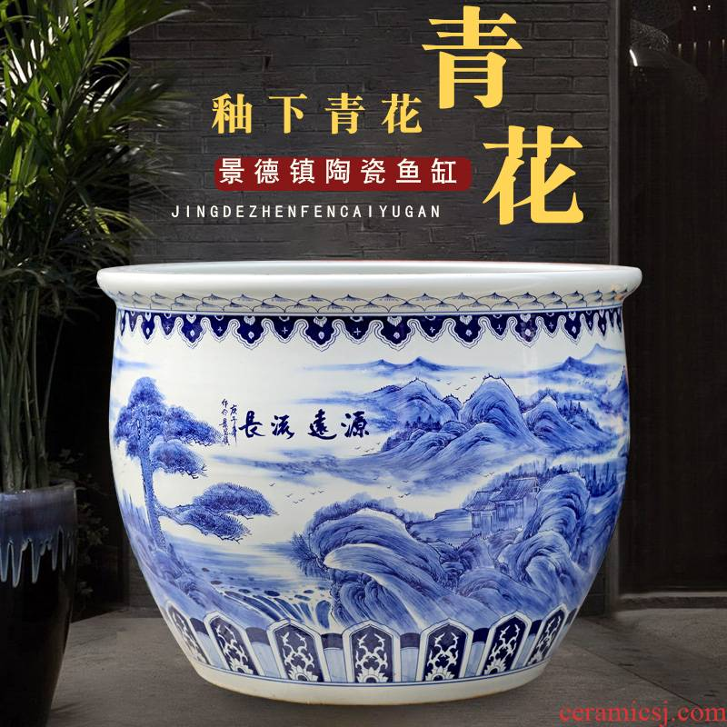 Jingdezhen blue and white porcelain basin of hand - made of long - standing ceramic tank cylinder tortoise mountain true water lily receive calligraphy and painting