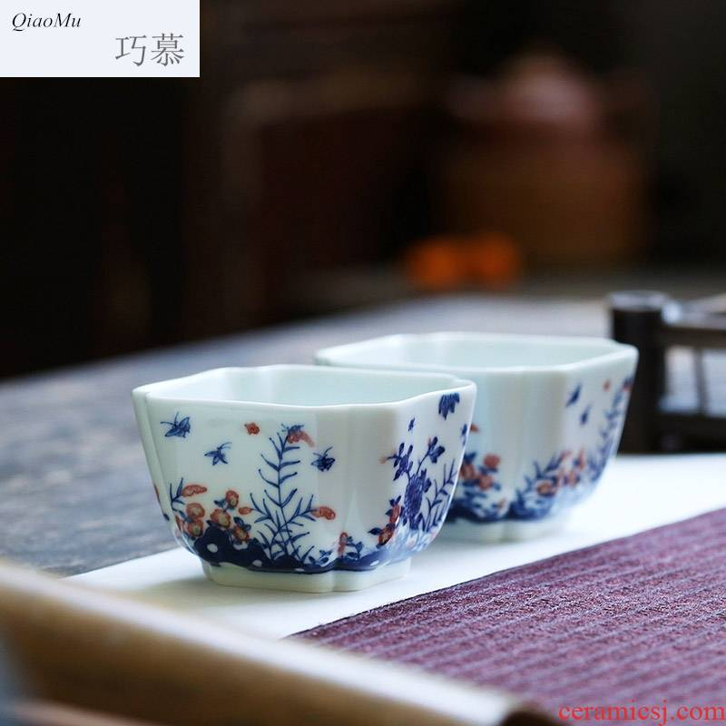 Qiao mu JYD hand - made porcelain youligong flowers all around square cup of jingdezhen ceramic kung fu tea tea set by hand