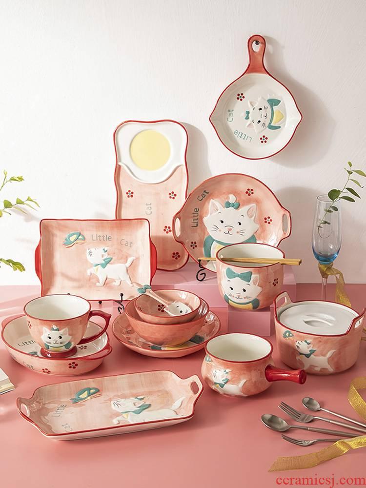 Jingdezhen ceramic bowl home dishes creative cartoon express children tableware plate of food dish a single combination