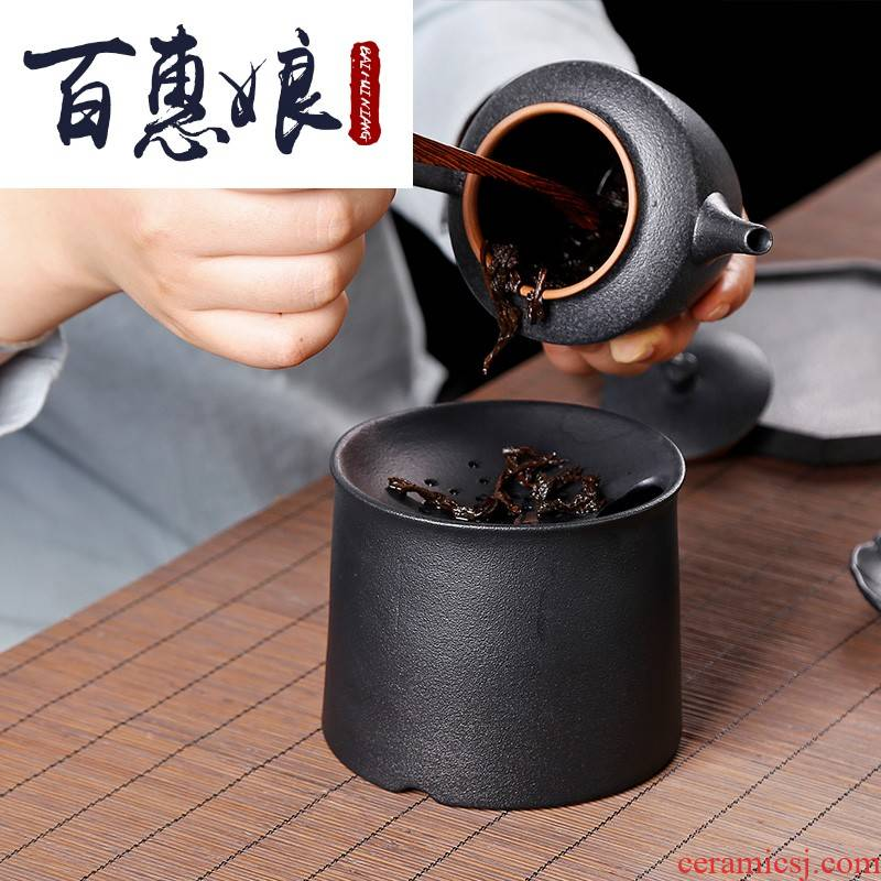 (niang to restore ancient ways with filtered water jar in hot tea to wash to the ceramic large household coarse pottery cylinder washing black pottery kunfu tea