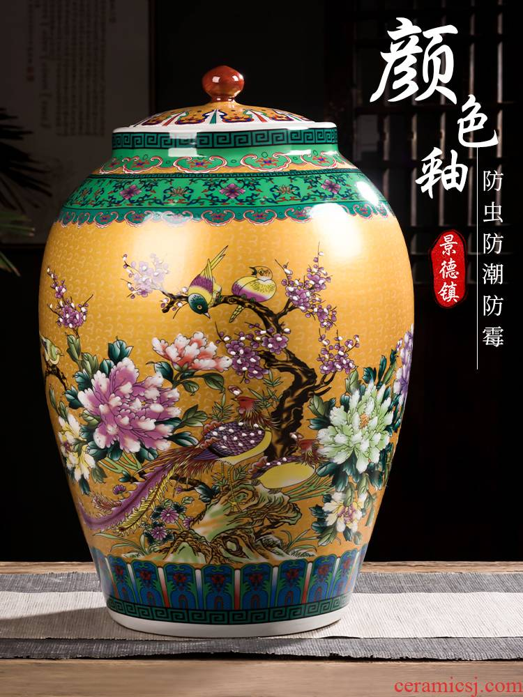 Jingdezhen ceramic barrel household moistureproof cylinder ricer box 50 kg pack restoring ancient ways with cover seal oil cylinder tank rice storage tank