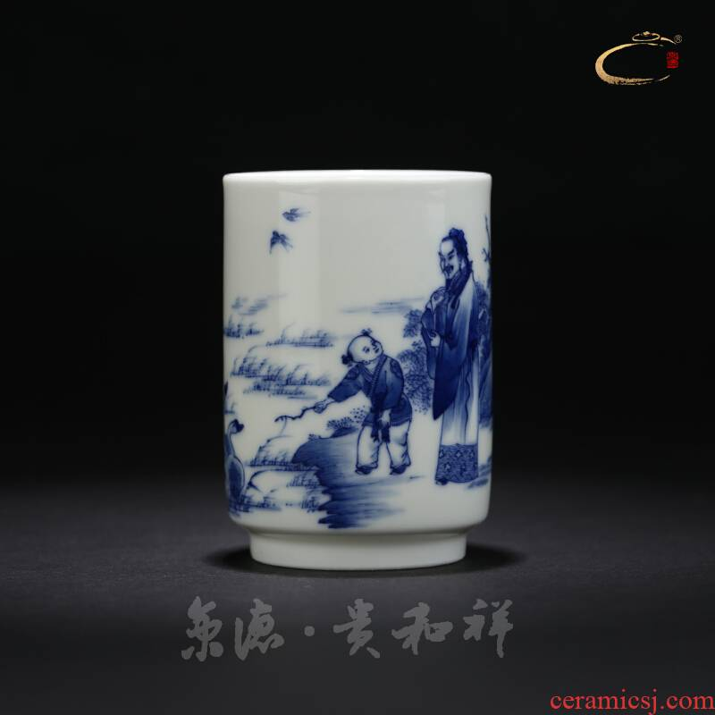 Jingdezhen blue and white thyme negative and auspicious meters cup hand - made kung fu tea master cup a cup of pure checking sample tea cup