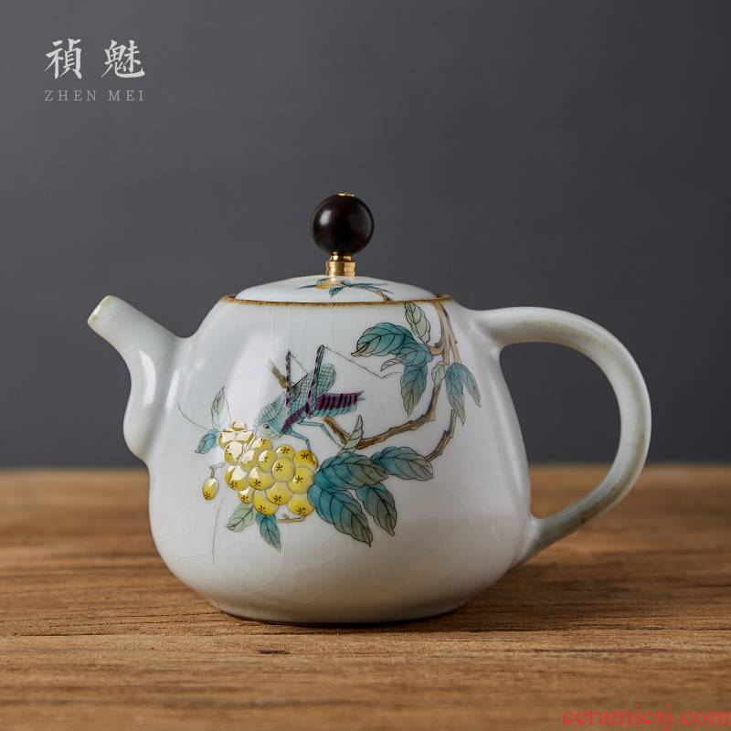 Shot incarnate your up hand - made crickets loquat kung fu tea pot of jingdezhen ceramics home filtration teapot single pot