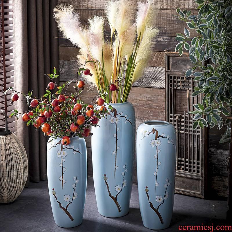 Jingdezhen ground vase large suit sitting room porch decorate bottle furnishing articles of Chinese style household ceramics European flower arrangement