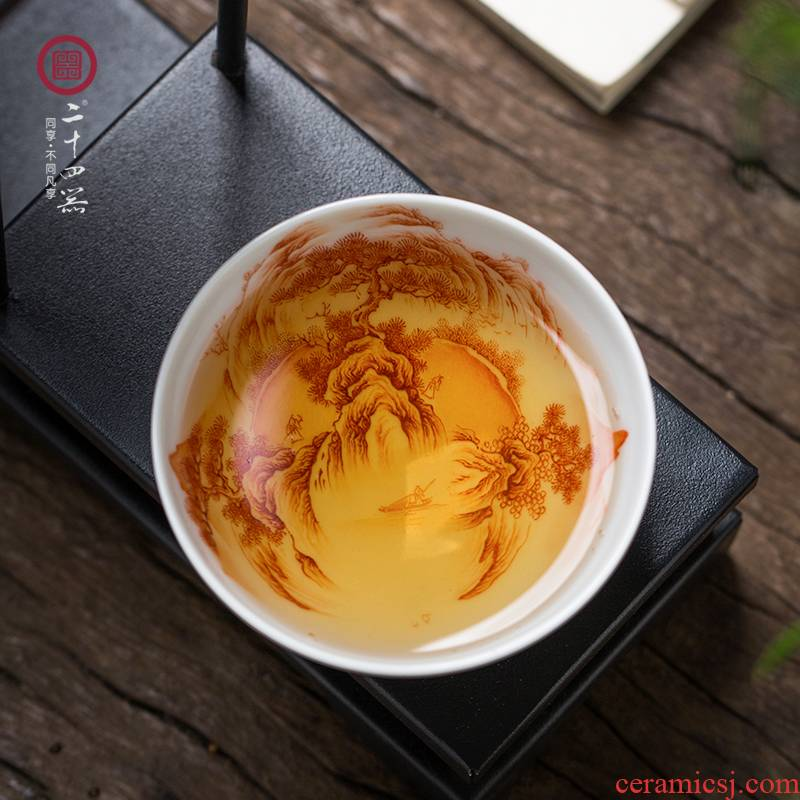 24 apparatus alum red hand draw landscape kung fu masters cup of pure manual single cup large jingdezhen ceramic cup