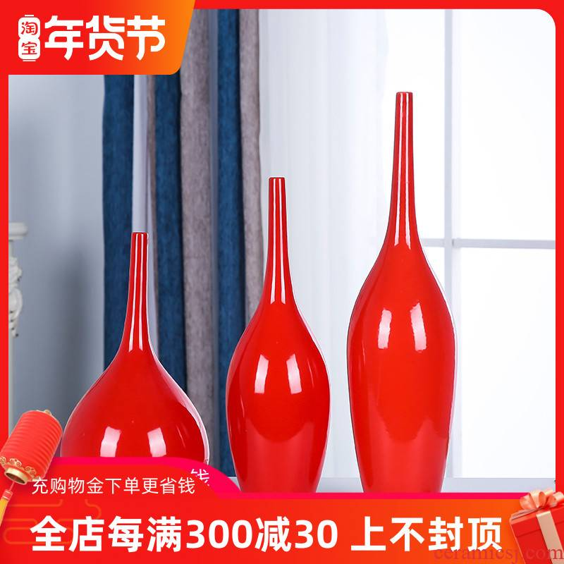 Jingdezhen ceramics three - piece suit Chinese red vase home sitting room porch decoration furnishing articles of China arts and crafts