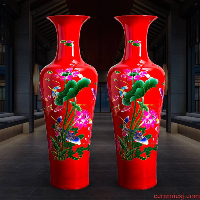 Jingdezhen ceramics from year to year for China 's big red vase household of Chinese style villa hotel decoration furnishing articles