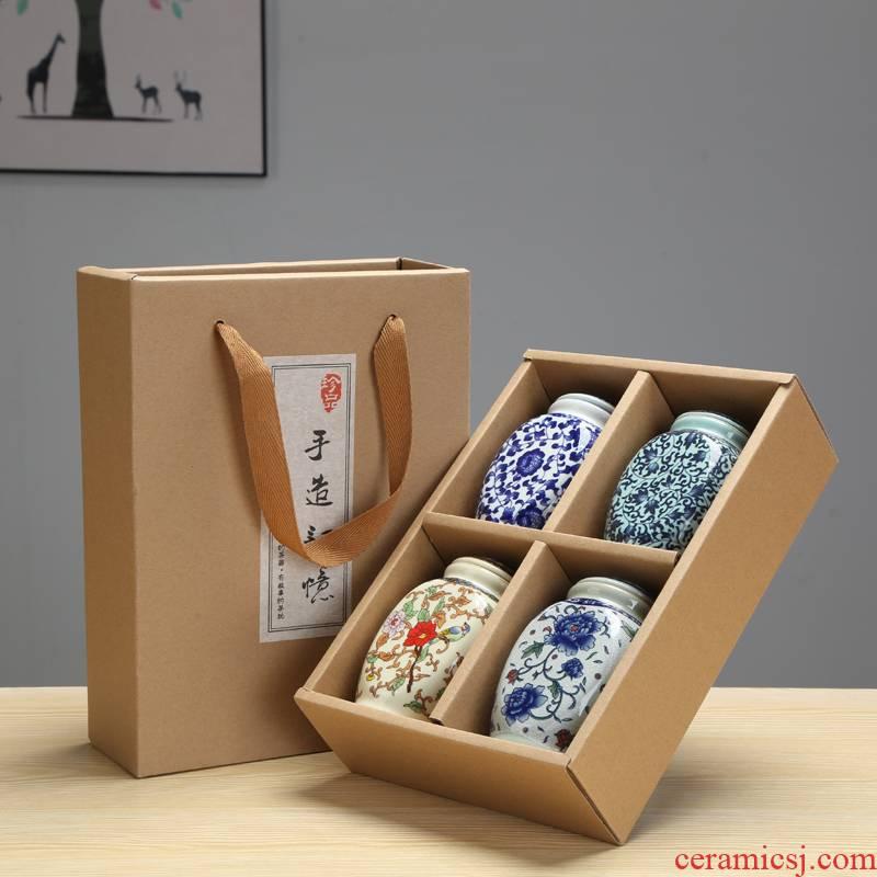 Vintage blue and white porcelain tea pot gift porcelain jar child four suits for ceramic sealed as cans of tea box storage jar