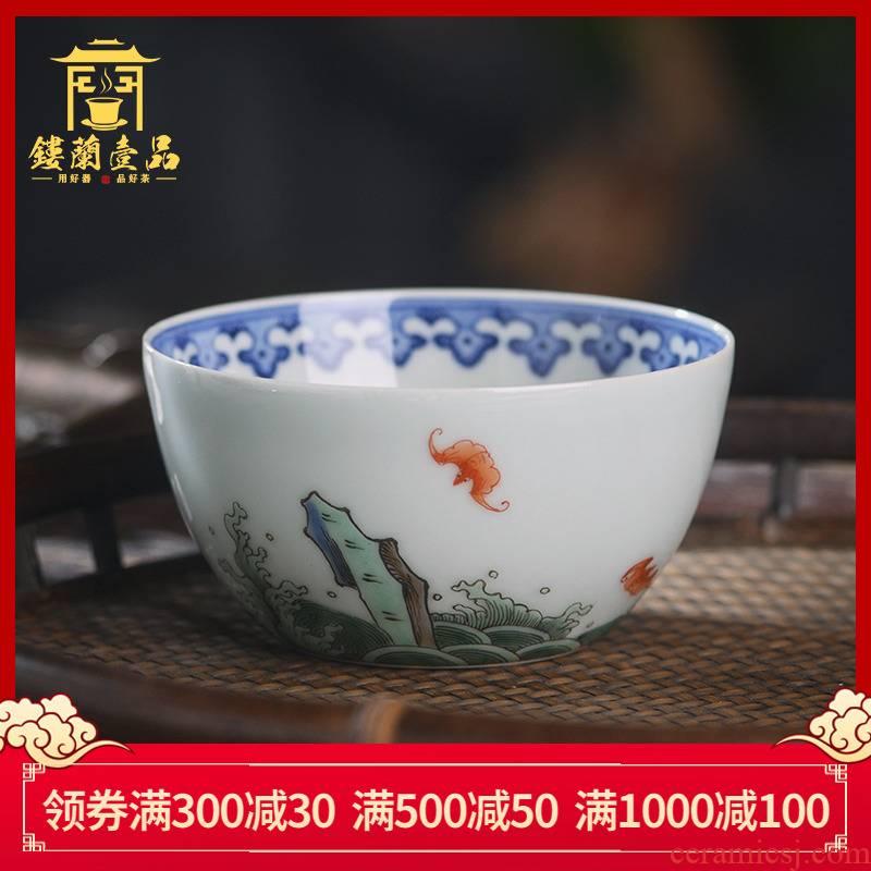 All hand - made pastel live ShouHai master of jingdezhen ceramics kung fu tea set personal tea cup to use single CPU