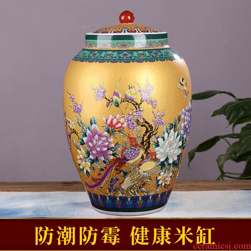 Jingdezhen ceramic barrel with cover household ricer box moistureproof insect - resistant seal storage tank in large 50 kg rice storage tank