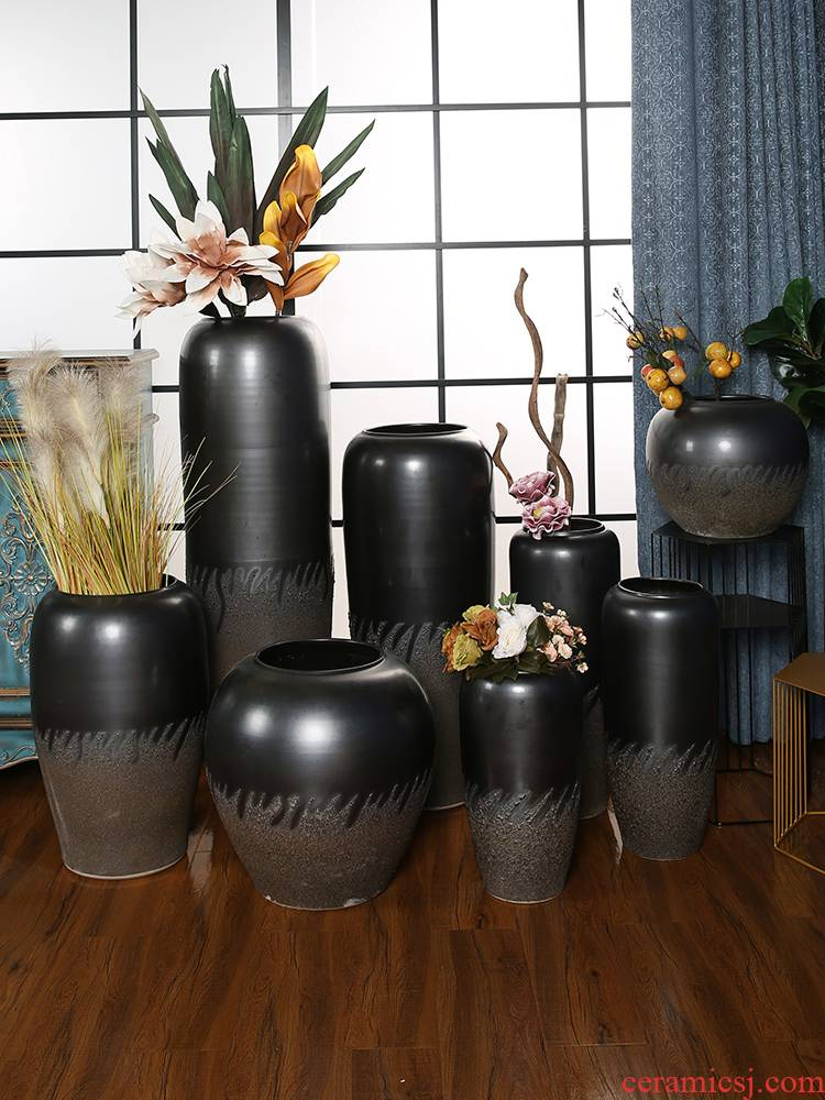 Restoring ancient ways of jingdezhen ceramic big pottery vase household dried flower arranging flowers furnishing articles I and contracted sitting room be born
