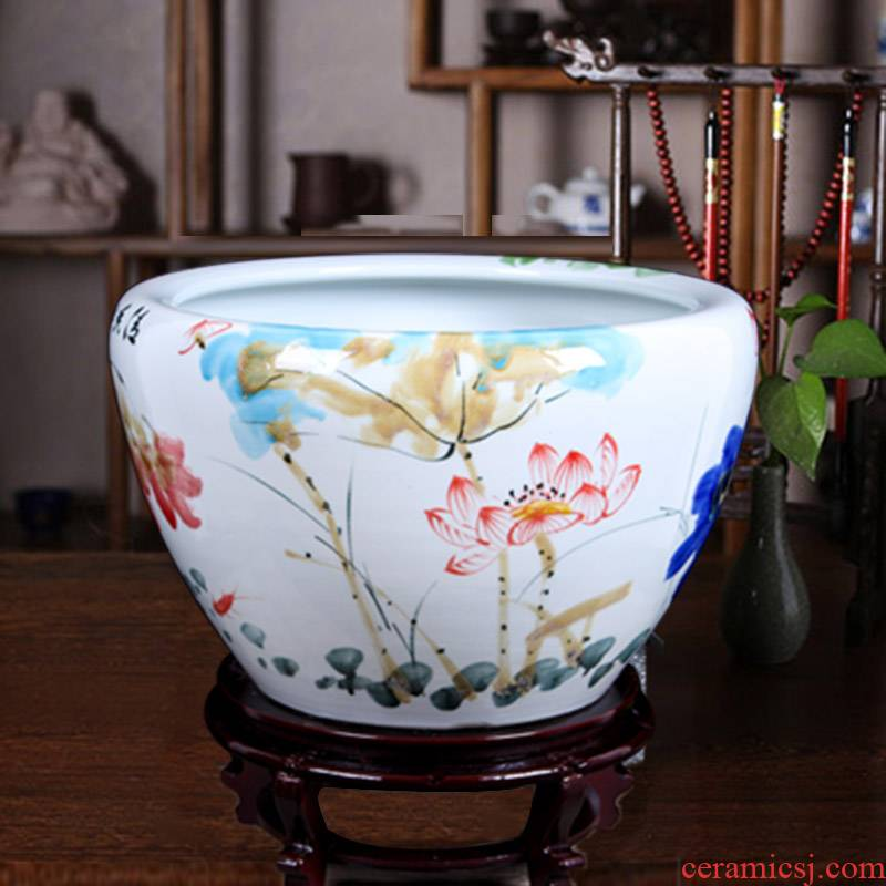 Jingdezhen ceramic aquarium round indoor and is suing goldfish bowl sitting room aquarium water lily lotus painting and calligraphy cylinder