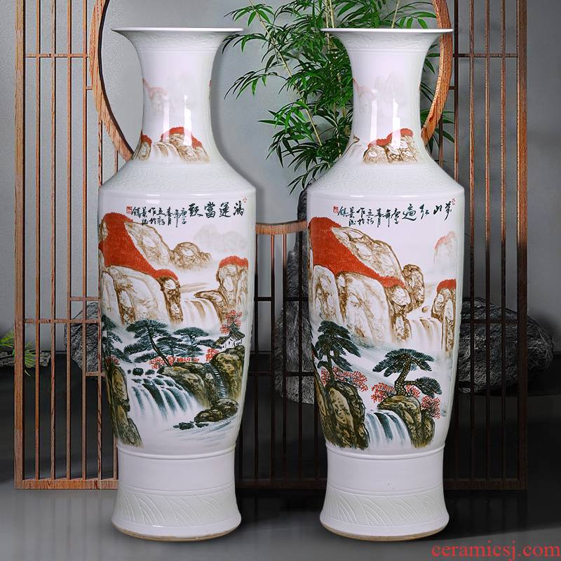Jingdezhen ceramics vase of hand - made luck to heavy landing, a large sitting room decoration to the hotel opening furnishing articles