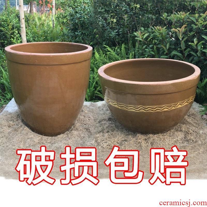 JiangGang soil fish. Ceramic old coarse JingTao cylinder tank pickles household water storage large tile large lotus