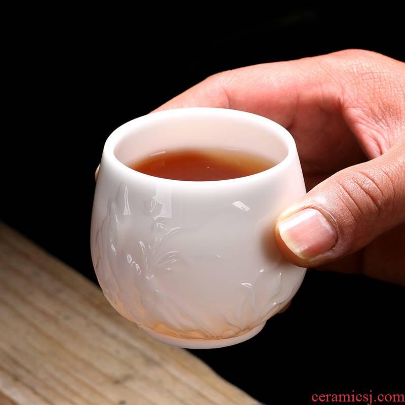Kaolin clay jade porcelain ceramic masters cup sample tea cup cup single CPU kung fu tea cups suet jade white porcelain office
