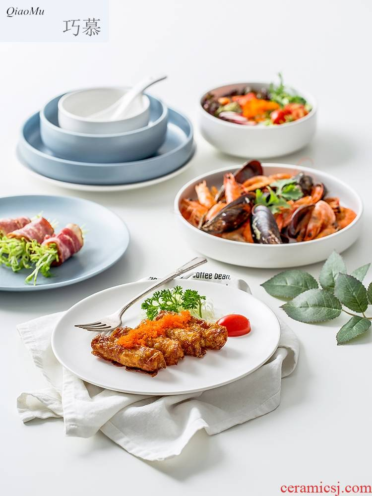 Qiam qiao mu Nordic tableware suit contracted creative ceramic bowl with a Japanese dish dish dish dish suits for