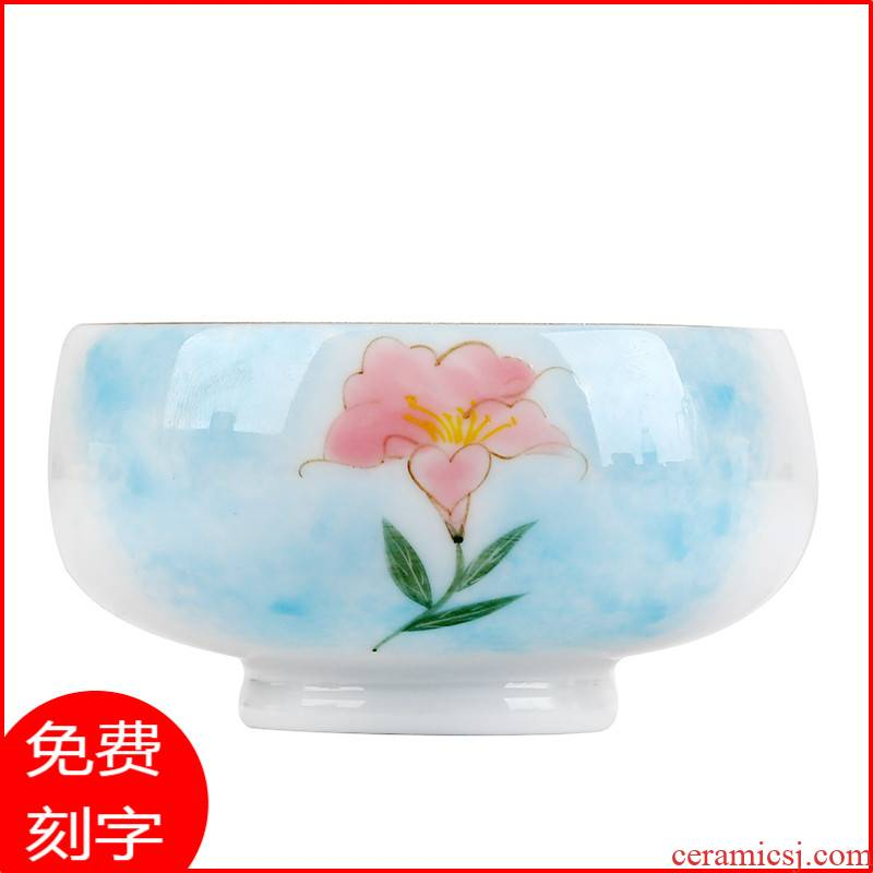 Jingdezhen ceramic hand - made teacup silver cup silver kung fu tea bowls light tank manual coppering. As the master CPU single CPU