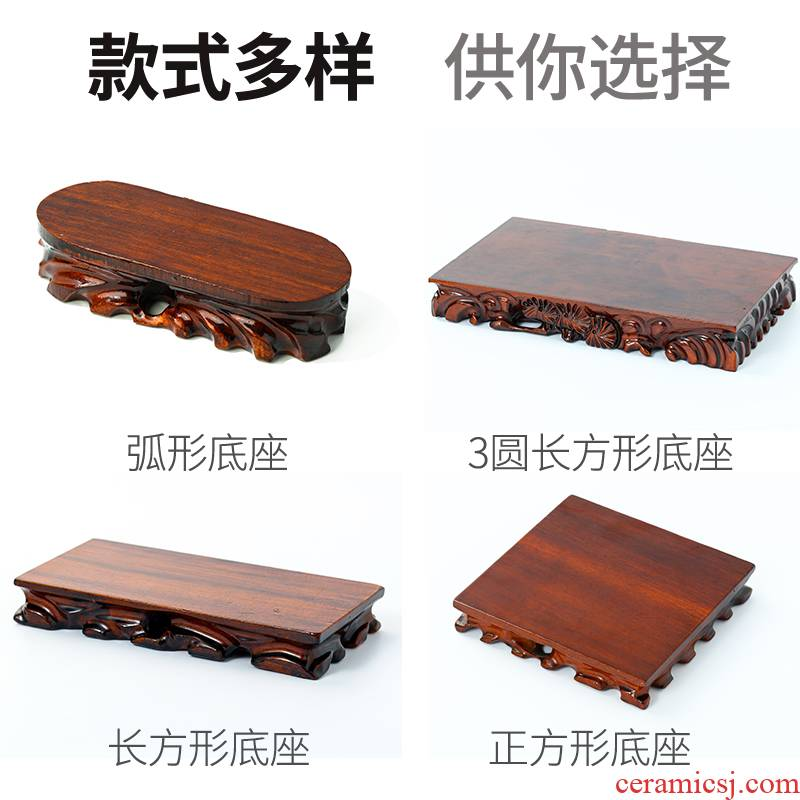 Stone base solid wood can be excavated rectangular oval flowers miniascape furnishing articles base Stone base of real wood of Buddha