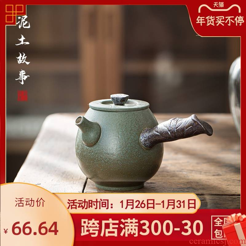 Hand made lateral coarse pottery teapot Japanese green glaze teapot household retro zen large - sized ceramic single pot of tea