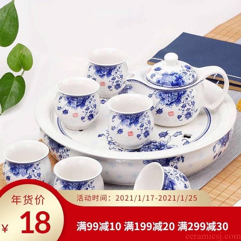 Jingdezhen ceramic tea set double anti hot large capacity personal special cup blue suit household kung fu tea cups