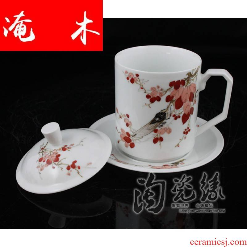 Submerged wood jingdezhen famous Cao Zhiyou hand - made famille rose porcelain tea set double CPU [wind] cup