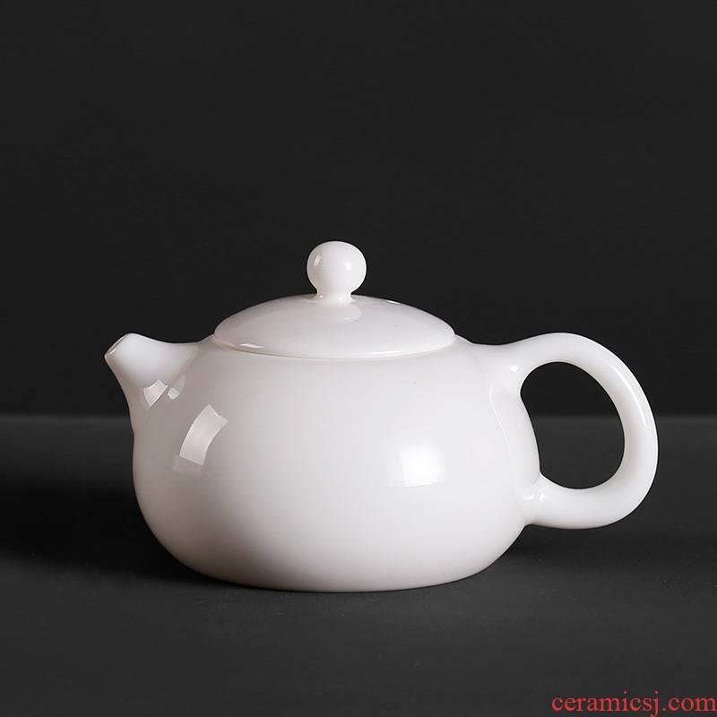 Qiao mu PMZ dehua white pot of little teapot kung fu tea set ceramic mini small pure white porcelain beauty hand put the pot
