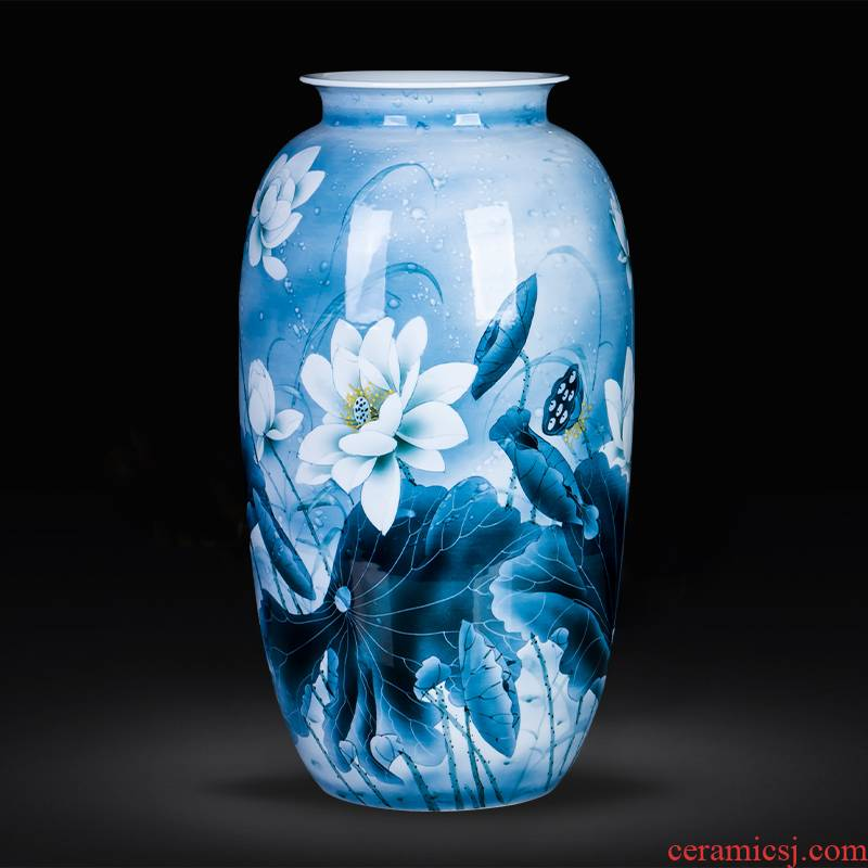 Blue and white porcelain of jingdezhen ceramics hand - made large lotus flower vases, sitting room hall of Chinese style household adornment furnishing articles