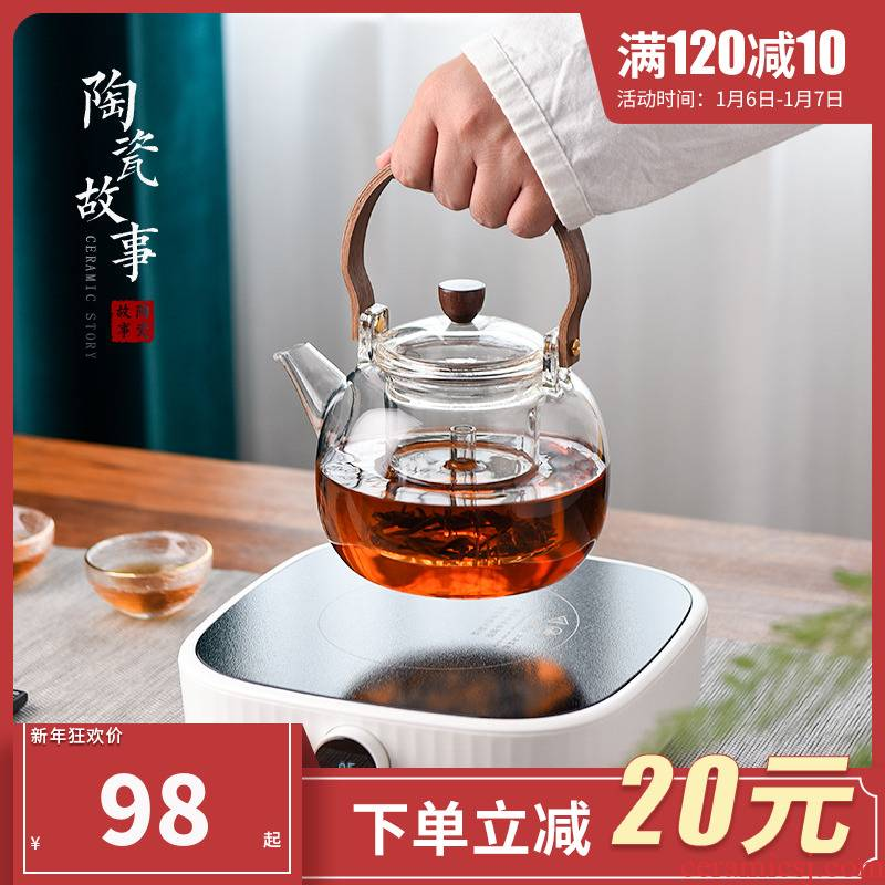 Cooking kettle electric teapot heat - resistant glass ceramic story TaoLu boiled tea ware suit household filter teapot