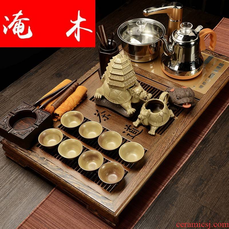 Submerged wood kung fu tea set a complete set of violet arenaceous household solid wood one chicken wings wood tea tray tea Chinese tea