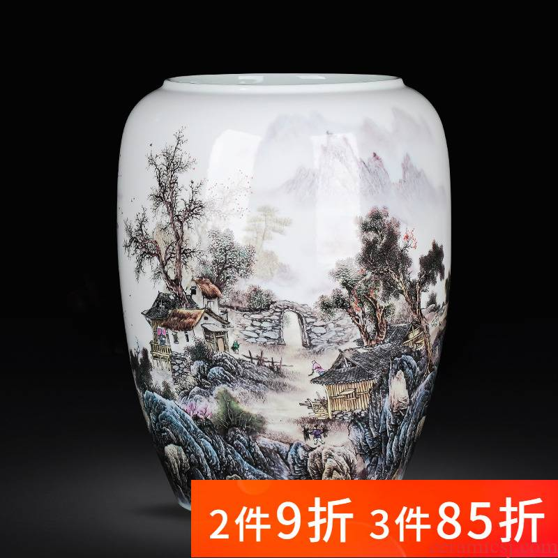 Jingdezhen porcelain ceramic floor big quiver vase painting and calligraphy scrolls the receive living room home furnishing articles