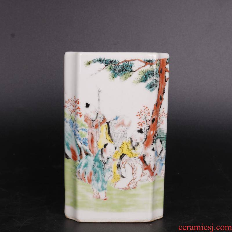 """Antique handicraft stories of pastel texture of the republic of China """"four porcelain brush pot home furnishing articles Antique collection"""