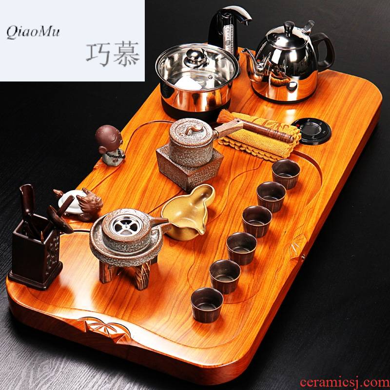 Qiao mu whole spend pear wood tea tray was violet arenaceous coarse pottery kung fu tea set four unity induction cooker tea tea