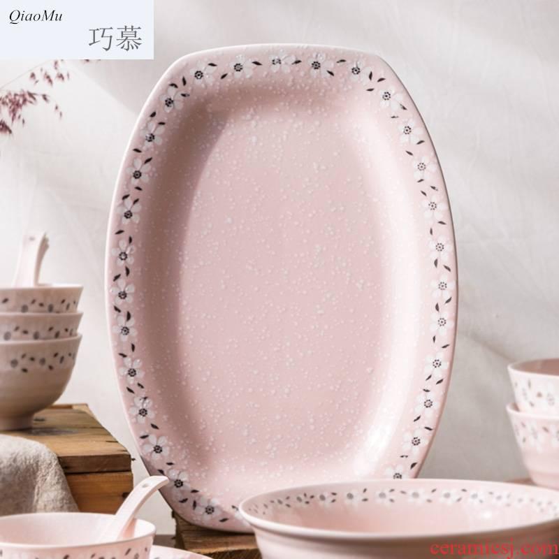 Qiao mu Japanese fish dish, and creative ceramics tableware oval plate long deep dish steaming roast whole fish dish