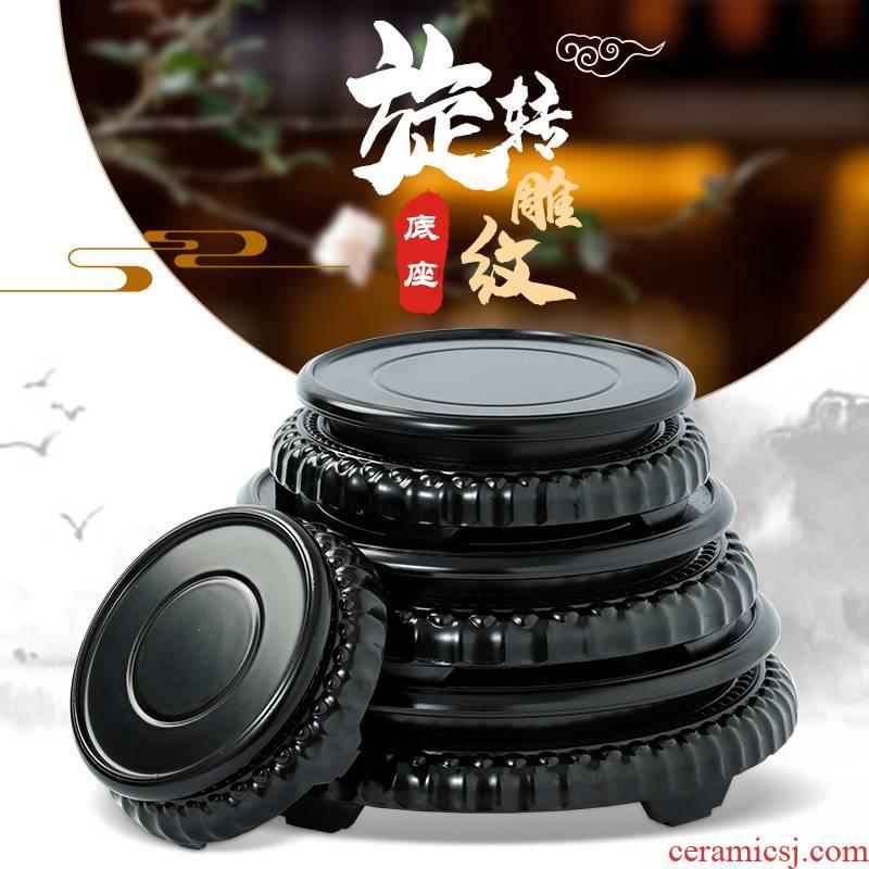 Round wooden base teapot tank stone Buddha vase flowerpot base stone base solid wood brackets furnishing articles