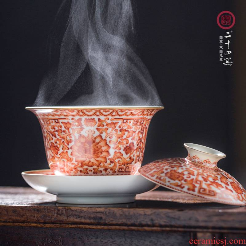 24 is alum red pure hand draw three to the red sea tureen all hand jingdezhen ceramic kung fu tea tea bowl