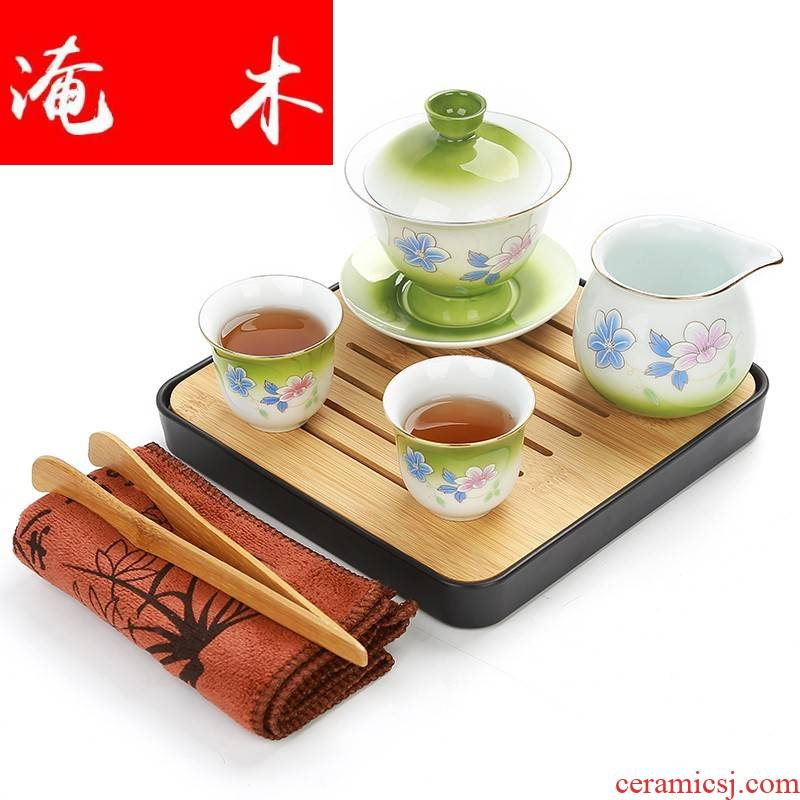 Submerged wood see colour ceramic tureen manual spray three large cup tea bowl to bowl of kung fu tea set home outfit