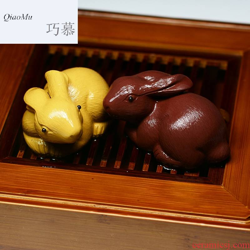 Qiao mu QD purple sand tea pet zodiac rabbit furnishing articles manually tea can keep small rabbit play kung fu tea tea set to go