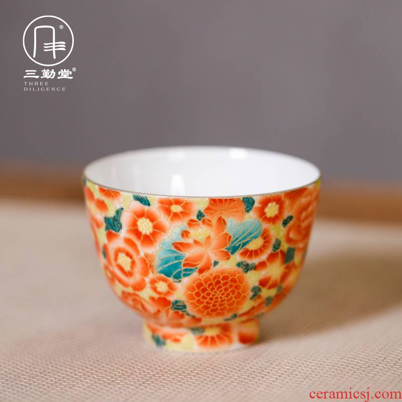 Three frequently CPU master cup single CPU hall jingdezhen wire inlay enamel porcelain cups a single sample tea cup kung fu tea set
