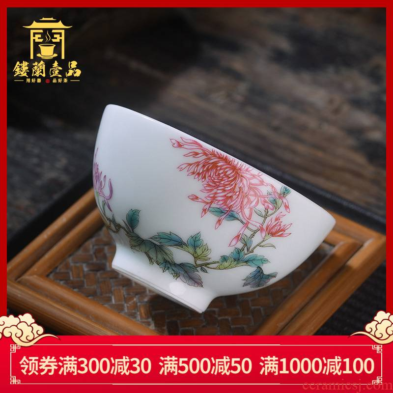 Jingdezhen ceramic all hand - made pastel CongJu masters cup from the individual make tea cup single cup sample tea cup