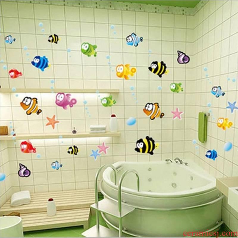 To run the kindergarten metope adornment small cartoon stickers paper put children room bathroom waterproof bathroom porcelain wall