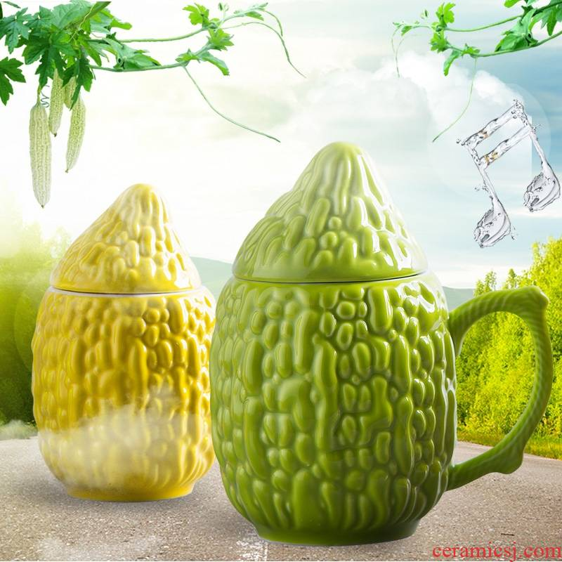 Qiao mu creative ceramic cup sweet balsam pear mark cup office contracted coffee cup couples cup with cover of water