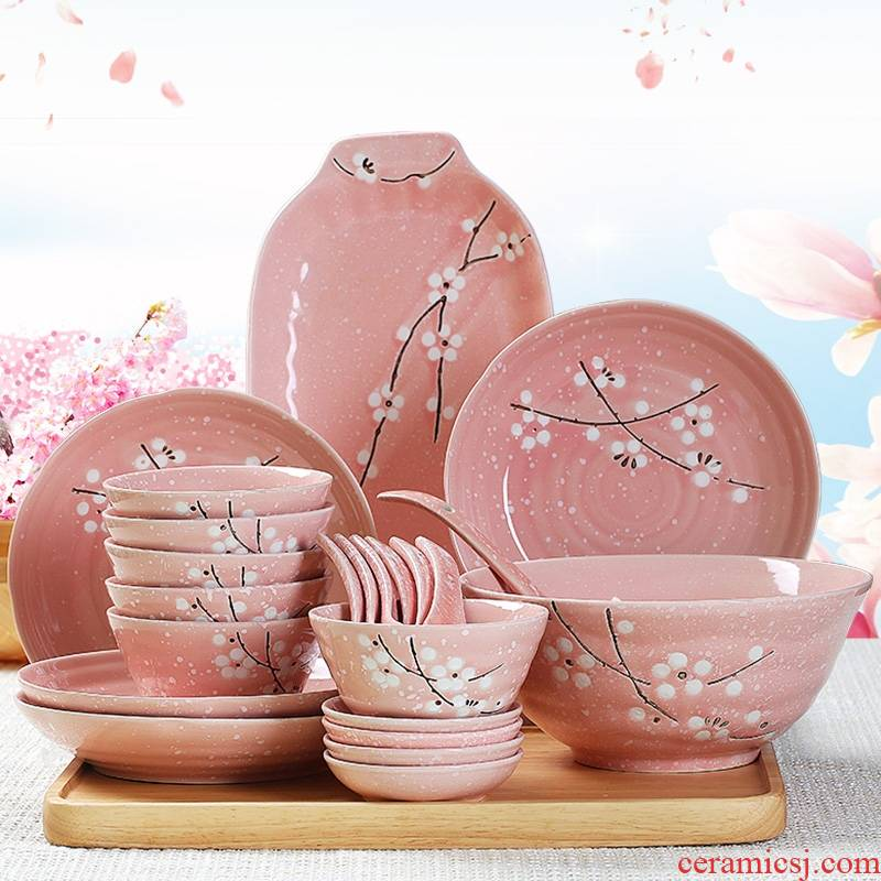 Qiao mu dishes suit 2 household utensils jingdezhen ceramic bowl plate combination Japanese contracted 4/6 people eating the food