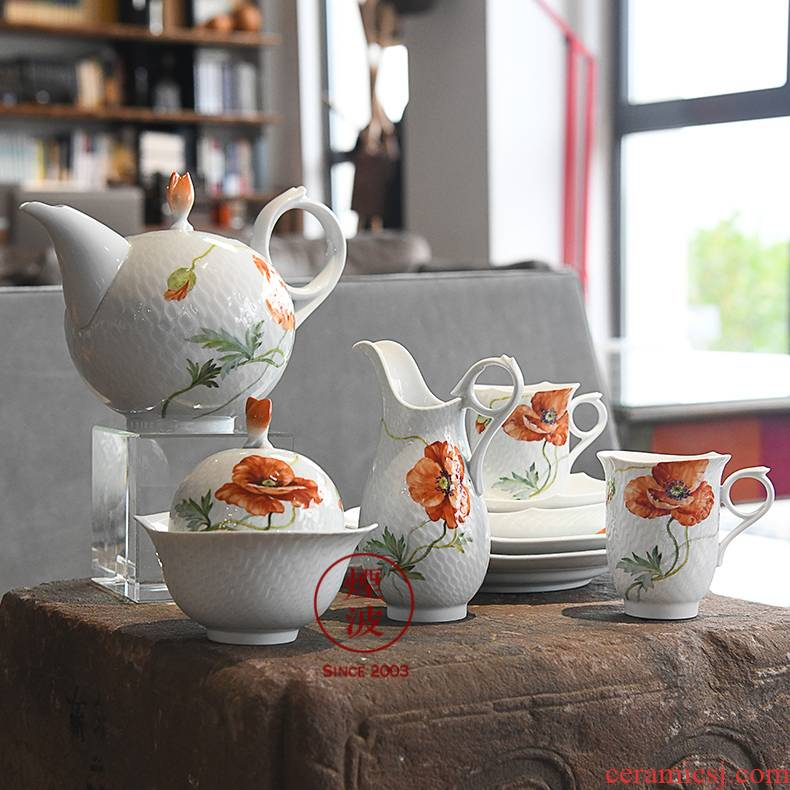 German mason mason meisen porcelain wave series wild poppy coffee cup set group of coloured drawing or pattern