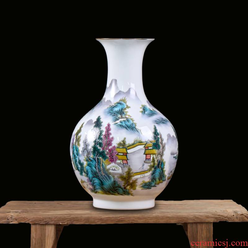 Jingdezhen ceramic landscape painting flower vase sitting room of Chinese style household furnishing articles mesa porch rich ancient frame ornaments
